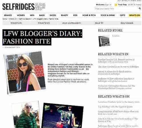 FashionBite's Emily Seares features on Selfridges